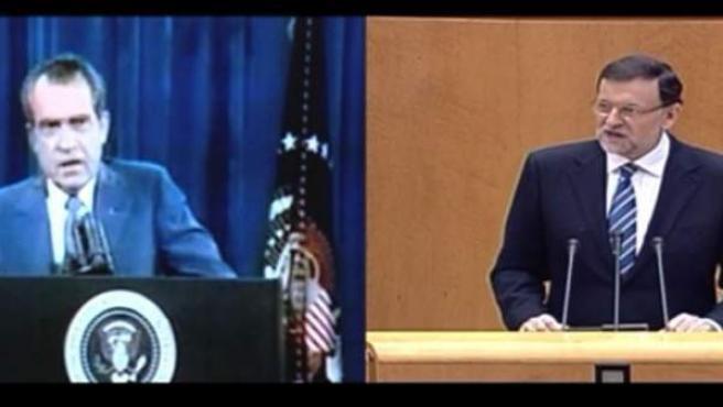 Fotograma del vídeo que compara a Rajoy con Nixon