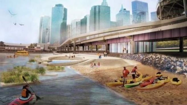 La nueva playa estará a orillas del East River, bajo el puente de Brooklyn.