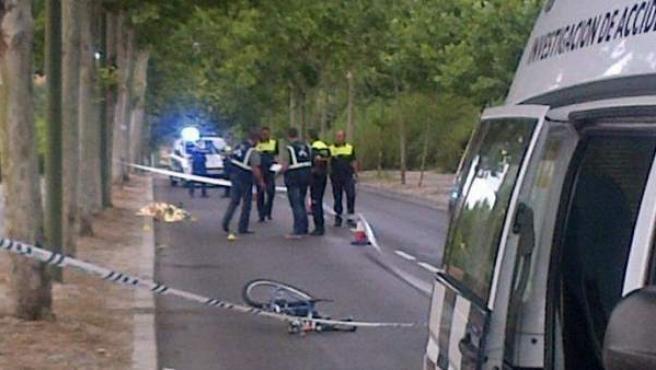 Imagen facilitada por el Ayuntamiento de Madrid del accidente que le costó la vida a un ciclista en la zona conocida como el camino del Chorrillo, en el distrito madrileño de Tetuán.