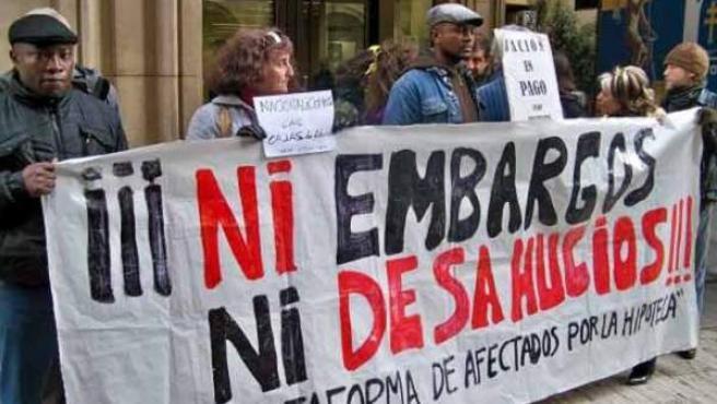 Protesta de la Plataforma de Afectados por la Hipoteca contra un deshaucio.