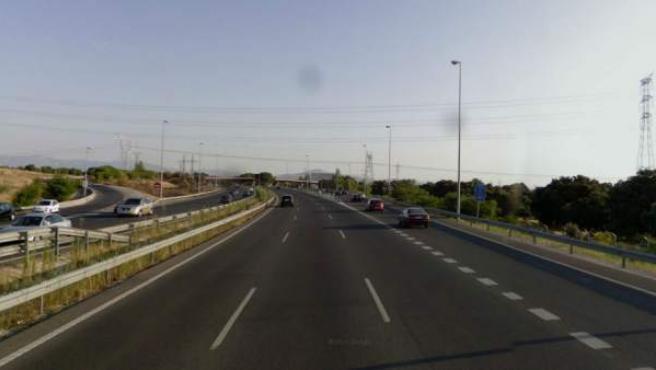 Imagen de la carretera de Colmenar Viejo (Madril), a la altura del kilómetro 21.