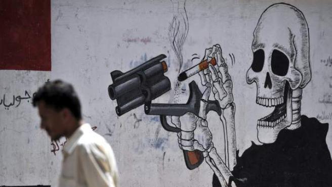 Grafiti en las calles de Yemen contra el consumo de tabaco.
