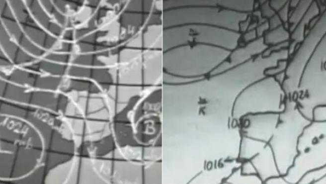 Mapas del tiempo usados en las primeras emisiones de televisión en España.
