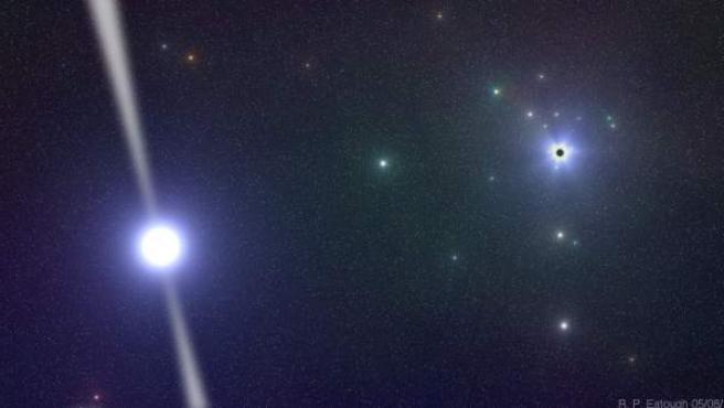 Fotografía de la representación del nuevo púlsar hallado en el centro de la Vía Láctea.