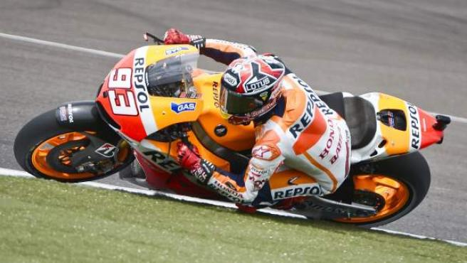 El piloto español de Honda, Marc Márquez, en los entrenamientos libres del GP de Indianápolis.