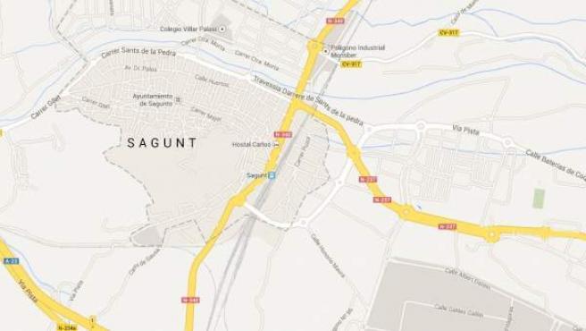 Mapa de Sagunto, donde ha ocurrido el suceso.