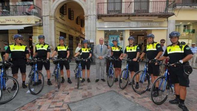 Presentación de la Policía en bicicleta en Málaga