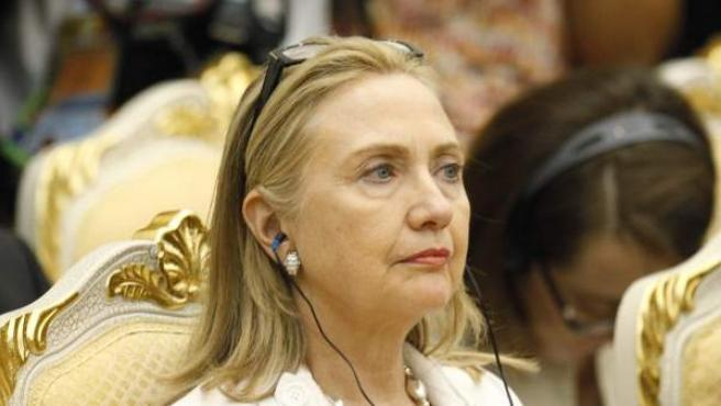 Hillary Clinton durante su participación en la reunión de la Asociación de Naciones del Sudeste Asiático y EE UU en Phnom Penh.