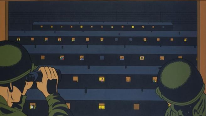 Una de las pinturas de Roger Shimomura inspiradas en sus recuerdos del campo de internamiento estadounidense de Minidoka