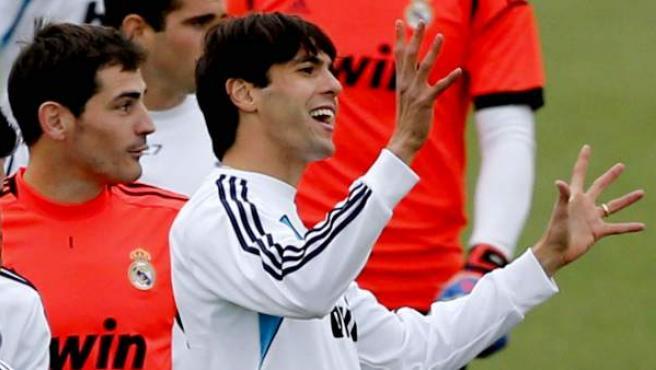 El mediapunta brasileño del Real Madrid, Kaká, durante un entrenamiento.