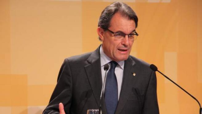 El presidente catalán, Artur Mas, en la sala de prensa del Palau de la Generalitat.