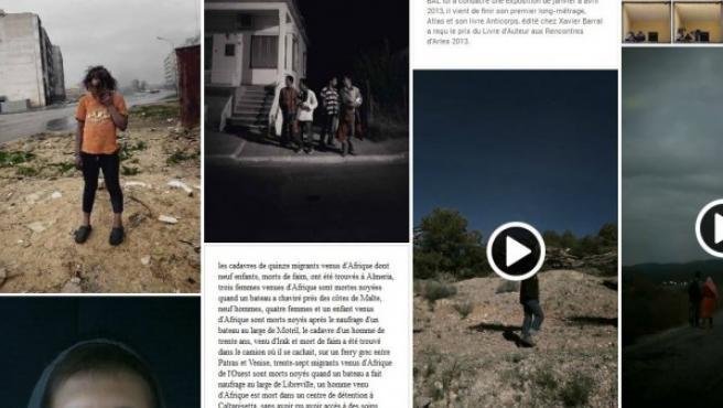 Captura de la web del proyecto de Antoine D'Agata