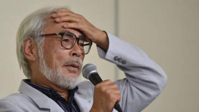 Hayao Miyazaki, durante su rueda de prensa en Tokio en la que explica su retirada.