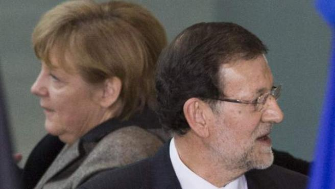 La canciller alemana, Angela Merkel, y el presidente del Gobierno, Mariano Rajoy, en una imagen del pasado mes de febrero.