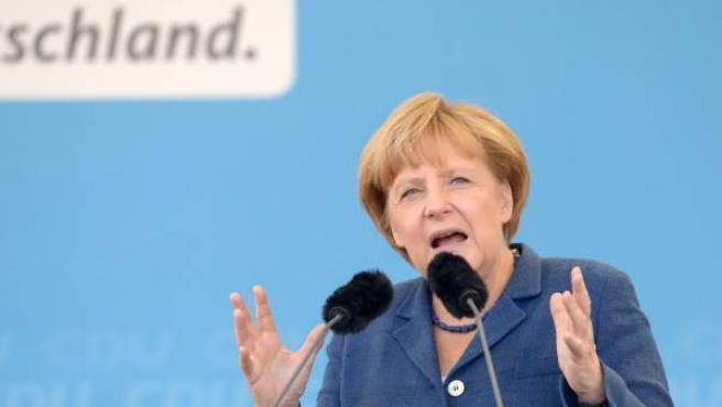 Angela Merkel durante un acto de la campaña electoral de septiembre de 2013.