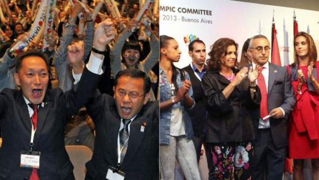 Combo de imágenes del momento en que Tokio era elegida como la ciudad que albergará los Juegos en 2020, y de la decepción de la candidatura de Madrid, que quedó eliminada en primera ronda.