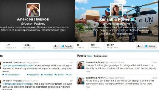 Capturas de los perfiles de Twitter de los representantes ruso y estadounidenses.