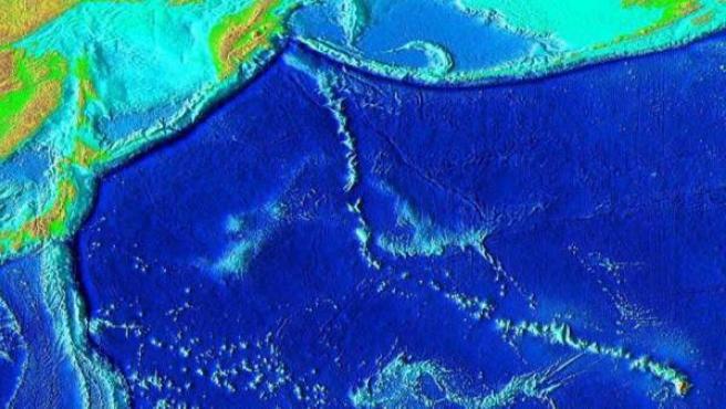 Zona donde está situado el Tamu Massif, un megavolcán que pertenece al gran macizo Shatsky Rise, a unos 1.500 kilómetros al este de Japón.