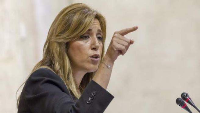 Susana Díaz en su intervencíón en el Parlamento andaluz.