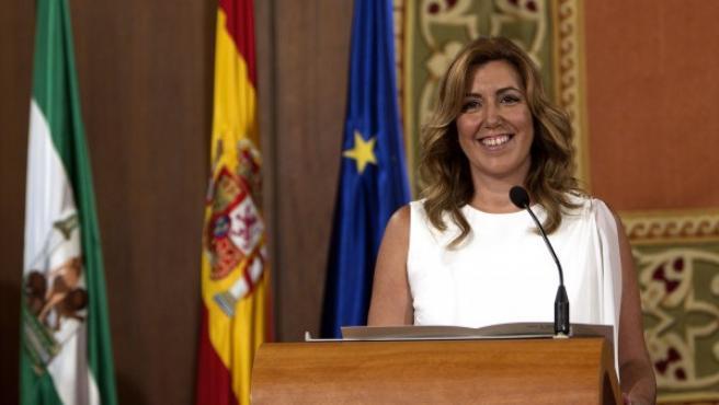 La socialista Susana Díaz durante el acto de su toma de posesión como presidenta de la Junta de Andalucía.