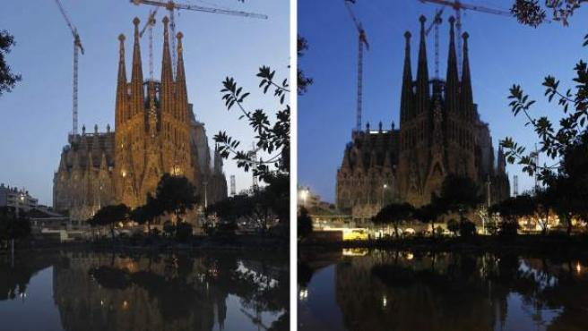 La Sagrada Familia de Barcelona, antes y después de la Hora del Planeta.