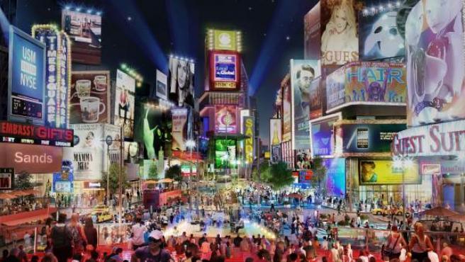 La avenida principal, según las recreaciones virtuales elaboradas por Las Vegas Sands, imitará a la plaza neoyorquina de Times Square.
