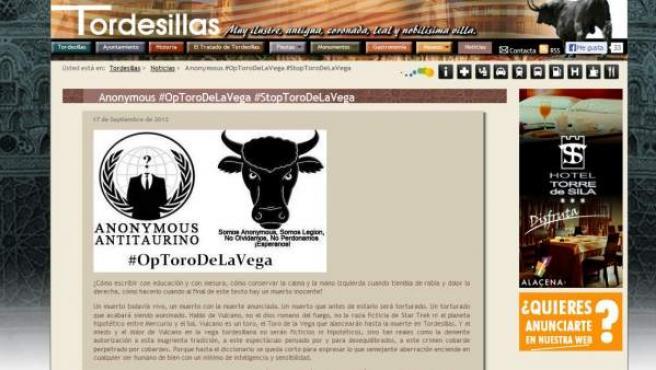Noticia de Anonymus en la web de Tordesillas.