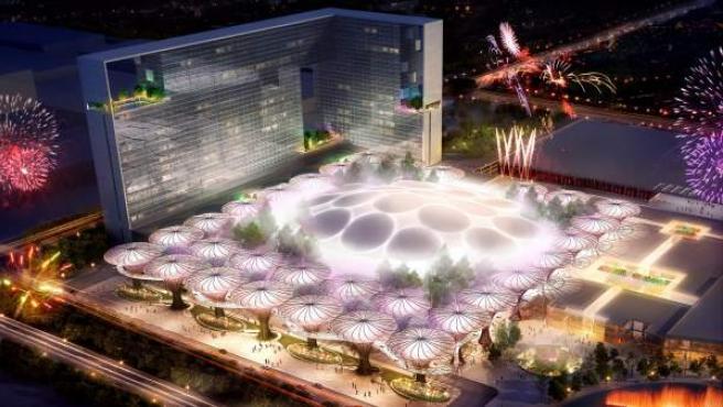 Recreación de una vista aérea de Eurovegas, cuyo complejo contará con un auditorio, salas de convenciones para organizar ferias y reuniones y campos de golf.