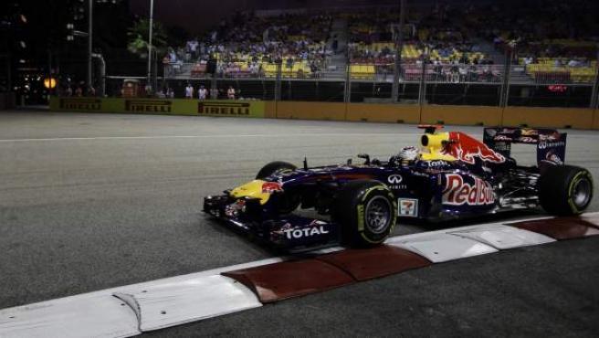 Sebastian Vettel, piloto de Red Bull, durante la clasificación del Gran Premio de Singapur.