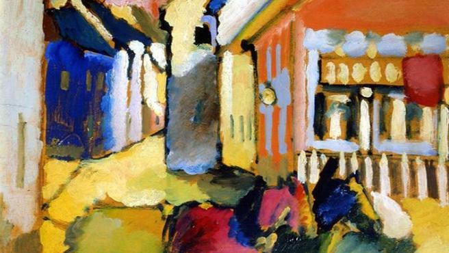 Kandinsky pinta un paisaje de Murnau en 1909, cuando comenzaba a abandonar la figuración