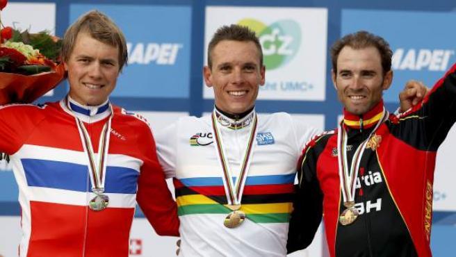 El ciclista murciano, Alejandro Valverde, bronce en el Mundial de ciclismo que ganó Gilbert.