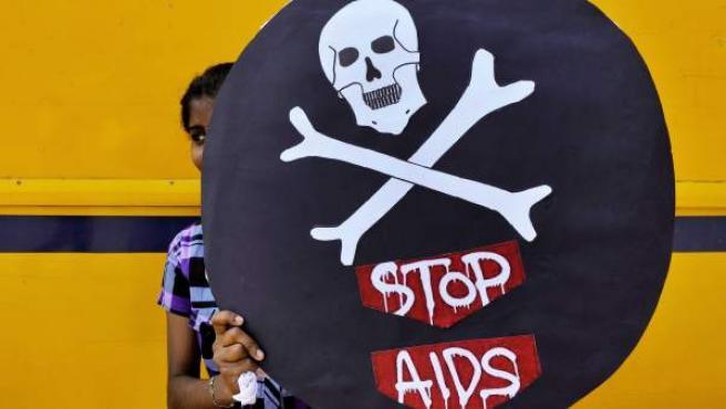 Pancarta reivindicativa en el Día Mundial del Sida.