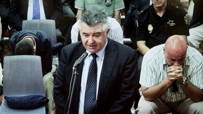 Fotografía tomada del monitor de la sala de prensa de la Audiencia de Málaga, en la que se ve a Juan Antonio Roca, durante la última sesión del juicio del caso Malaya.