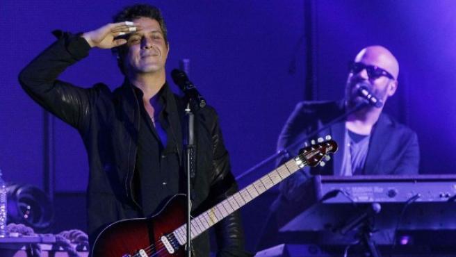 El cantante español Alejandro Sanz durante un concierto.