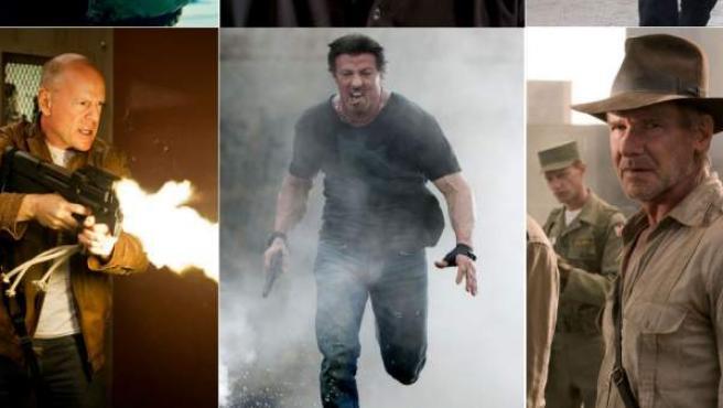 Arnold Schwarzenegger, Mel Gibson, Chuck Norris, Bruce Willis, Sylvester Stallone y Harrison Ford.