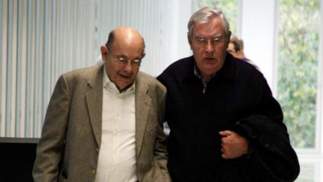 El expresidente del Palau de la Música Fèlix Millet (izq.) y su mano derecha, Jordi Montull, en la Ciudad de la Justicia de Barcelona.