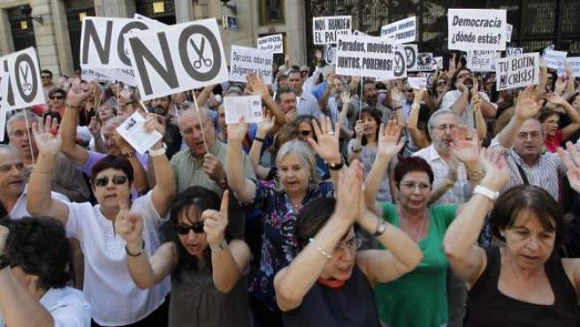 Protesta de funcionarios en Madrid.