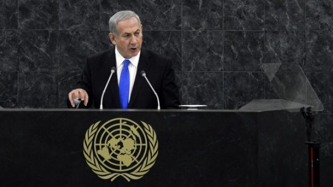 El presidente israelí, Benjamin Netanyahu, ante la Asamblea General de las naciones Unidas.
