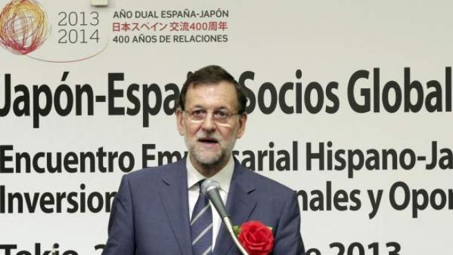 Rajoy, durante la inauguración del Encuentro Empresarial 'Japón-España: Socios Globales para Negocios e Inversiones', celebrado en Tokio.