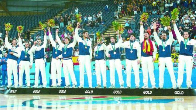 La selección española de baloncesto para discapacitados intelectuales, que logró la medalla de oro tras derrotar a Rusia.