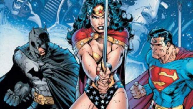 Wonder Woman, entre Batman y Superman en una ilustración de Jim Lee.