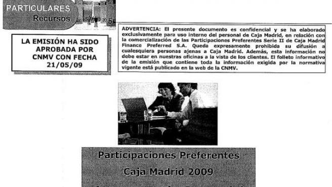 Documento interno de Caja Madrid sobre las preferentes.