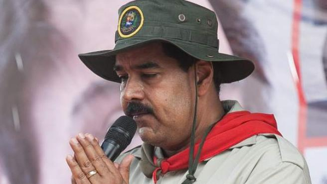Nicolás Maduro en un acto con las fuerzas armadas de Venezuela.