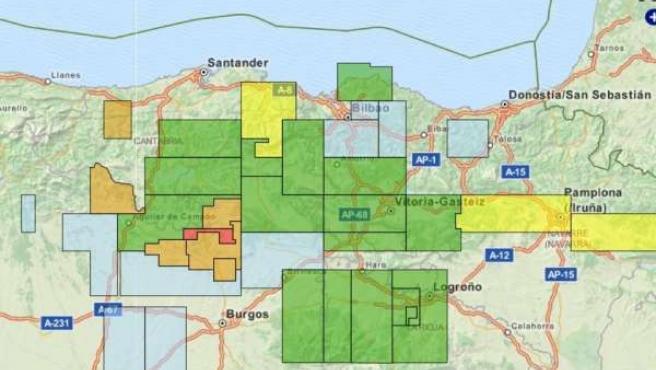 Mapa de permisos de fracking en Cantabria