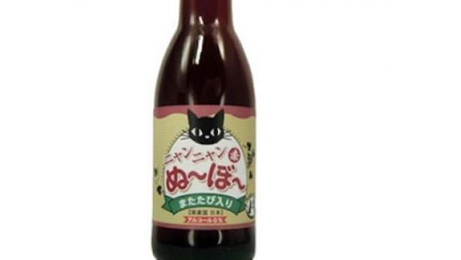Botella de vino para gatos comercializada en Japón.