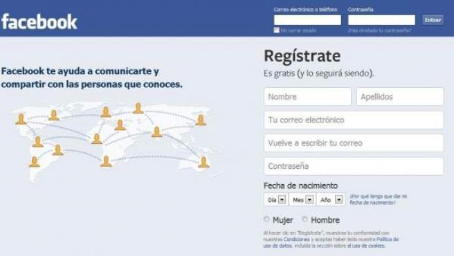 Pantalla de registro en Facebook.