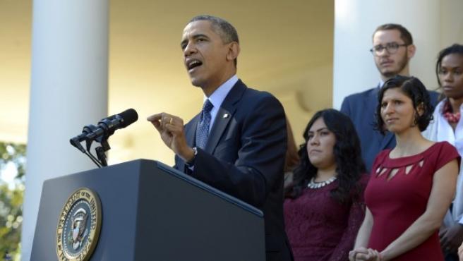 El presidente de EE UU, Barack Obama, interviene durante un acto celebrado en la Rosaleda de la Casa Blanca.
