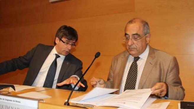 El alcalde de Girona C.Puigdemont y el exalcalde J.Nadal