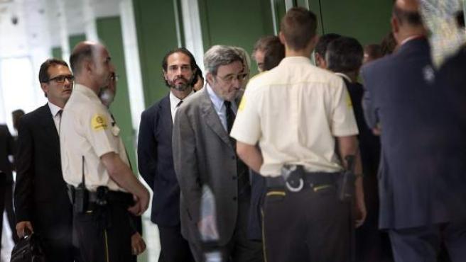 El expresidente de Catalunya Caixa Narcís Serra, en la Ciudad de la Justicia de Barcelona.