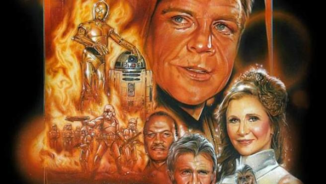 Un póster no oficial (Fan Poster) con unos envejecidos Mark Hamill, Harrison Ford, Carrie Fisher y Billy Dee Williams